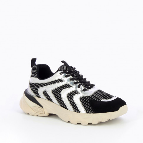 Black sneakers with silver wavy lines