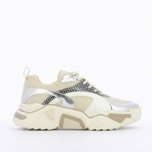 Beige mesh sneakers with silver details