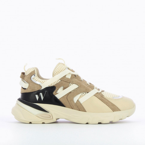 Beige and taupe mesh sneakers with grosgrain straps