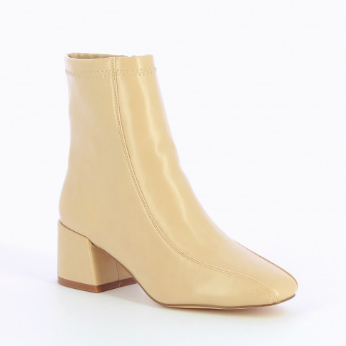 Light beige ankle boots with block heel