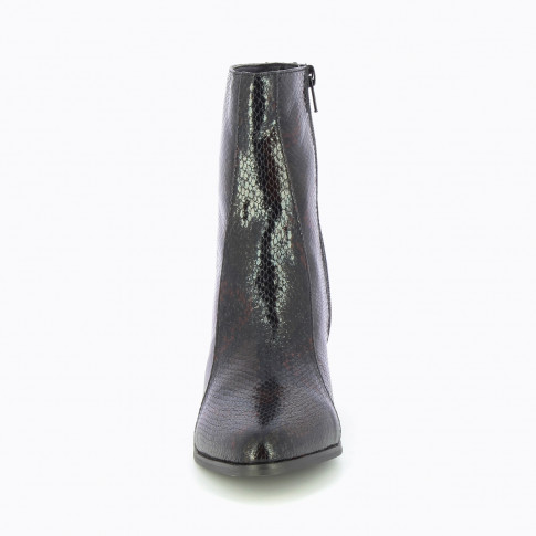 Black snakeskin effect ankle boots with topstitched upper