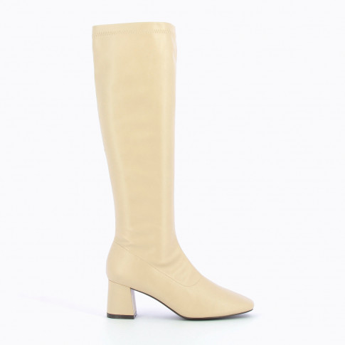 Light beige faux leather retro boots