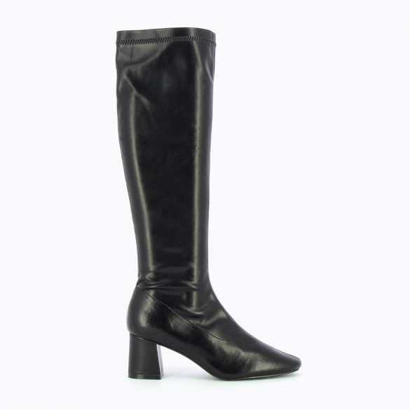 black vintage boots with small heel stretch woman Vanessa Wu faux leather with round toe