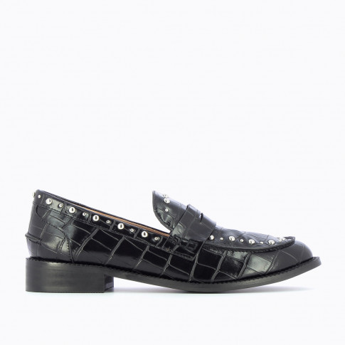 Black studded loafers in croco effect