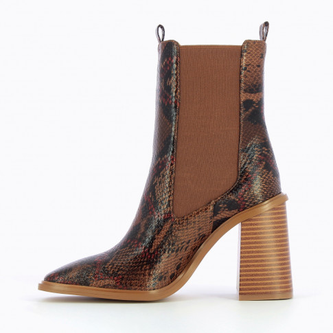 Camel snakeskin effect ankle boots with high upper
