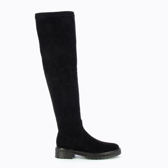 black thigh high biker boots with serrated sole stretch woman Vanessa Wu flat and round toe