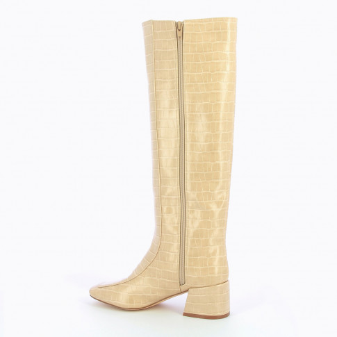 Light beige boots with shiny crocodile effect