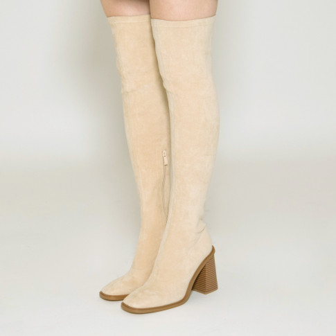 Light beige thigh highs with trapezium heel and square toe