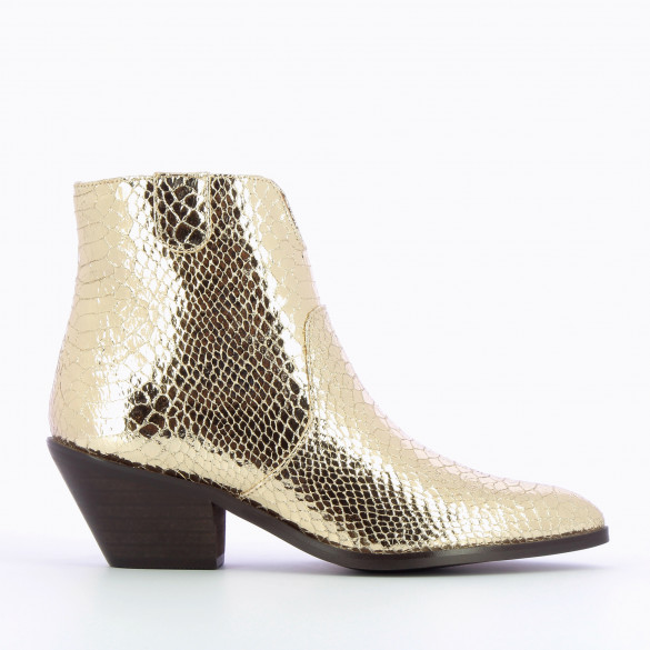 cowboy boots gold woman Vanessa Wu snakeskin effect with pointed toe western style cuban heel