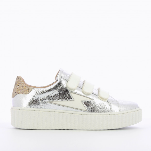 silver lightning sneakers woman with velcro white Vanessa Wu creeper sole