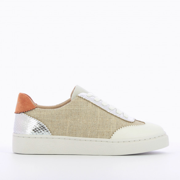 beige tweed city sneakers with laces and silver details woman Vanessa Wu