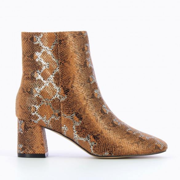 ankle boots iridescent brown snakeskin print woman rounded toe Vanessa Wu with small heel