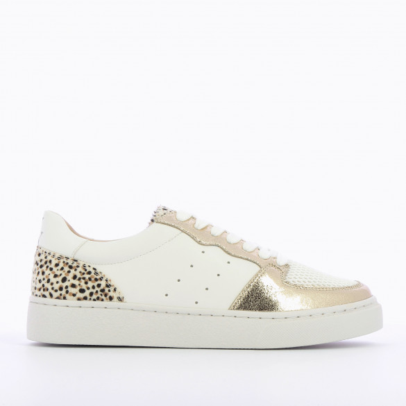 white faux leather sneakers woman perforated with laces gold and leopard details Vanessa Wu
