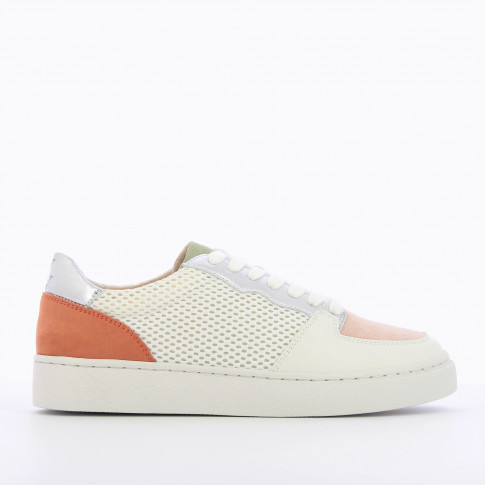 White mesh sneakers with colored details