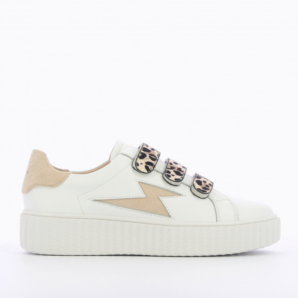leather sneakers woman Vanessa Wu lightning white and beige with leopard velcro and creeper sole