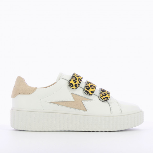 white leather sneakers lightning beige woman Vanessa Wu with velcro leopard yellow and creeper sole