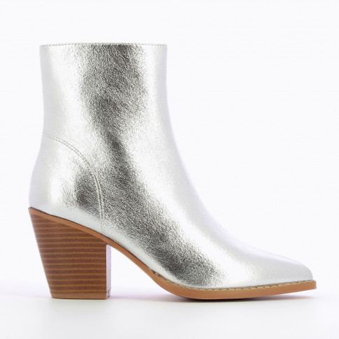 Textured silver ankle boots with heel
