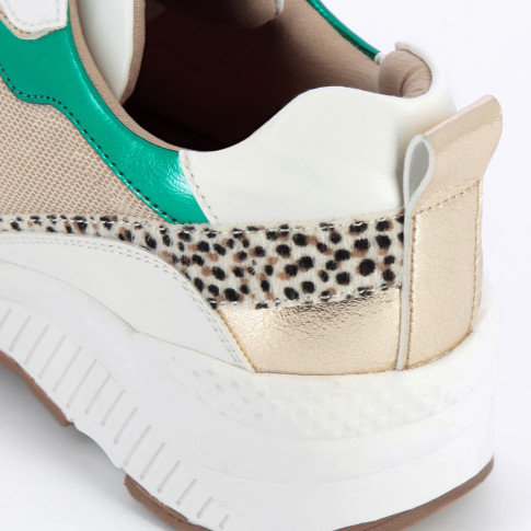 Beige mesh sneakers with gold and green details