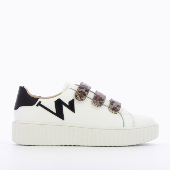 white leather sneakers with leopard velcro Vanessa Wu woman monogram platform sole creeper