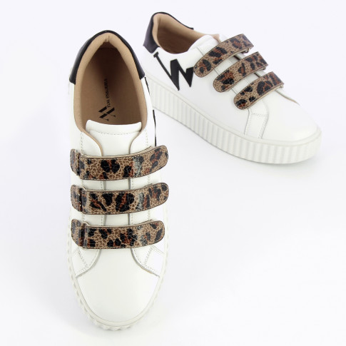 Monogram sneakers with leopard velcro