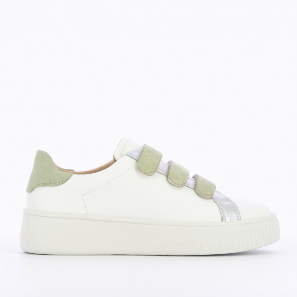 city sneakers white leather with velcro pastel green suedette woman Vanessa Wu with silver details