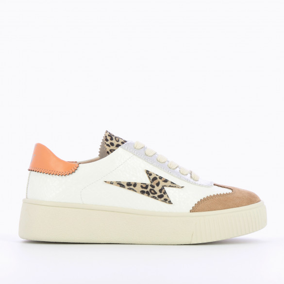 white sneakers leopard lightning in faux leather with laces Vanessa Wu creeper sole