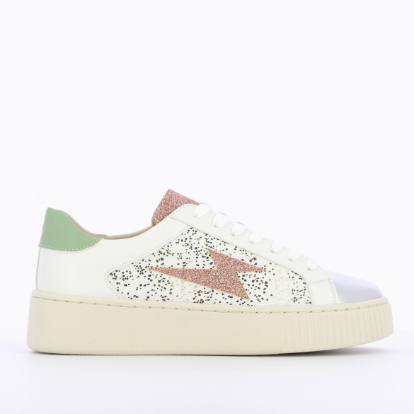 white sneakers faux leather with lightning glittery pastel pink woman with laces Vanessa Wu creeper sole