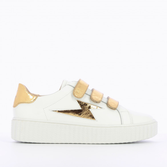sneakers white and gold with velcro pattern lightning woman Vanessa Wu creeper sole