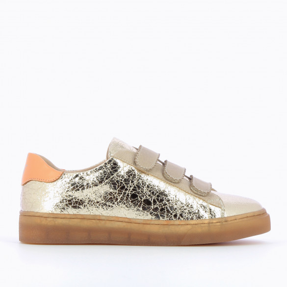 gold crinkled effect sneakers woman Vanessa Wu at the back apricot and transparent sole brown with taupe velcro