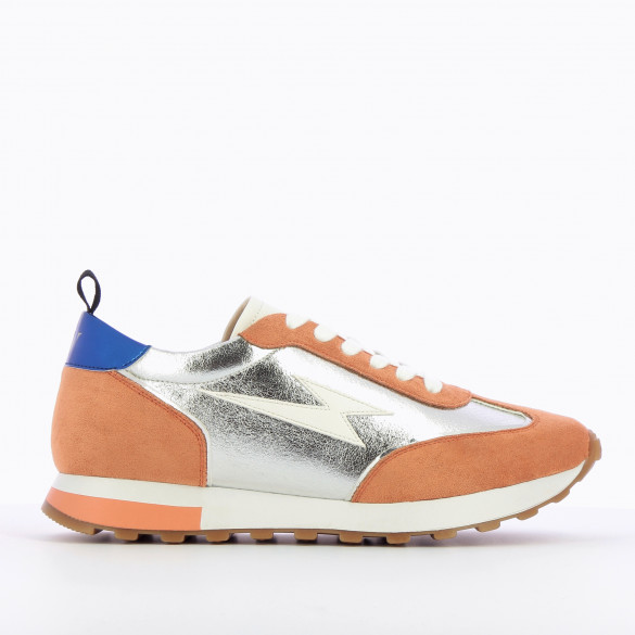 lightning sneakers track style in faux leather silver and apricot suedette with laces woman Vanessa Wu