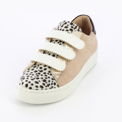 Beige and cheetah sneakers with serrated-edge velcro