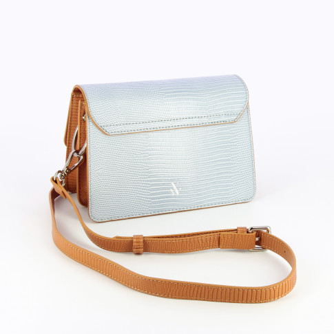 Blue and camel structured bag with strap