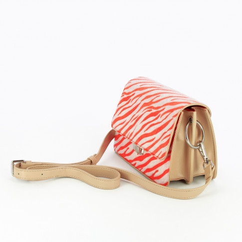 Neon pink zebra structured bag with strap