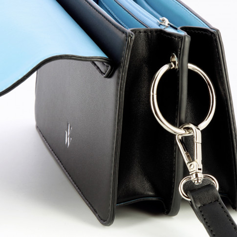 Black structured bag with strap