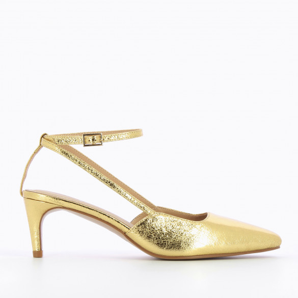 Pumps textured gold with pointed toe and small fine heel woman Vanessa Wu with thin straps