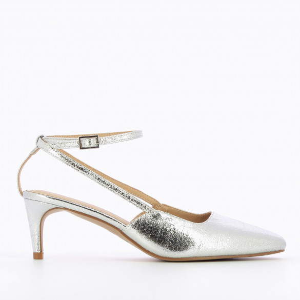 Pumps textured silver with small heel and thin straps woman Vanessa Wu in faux leather