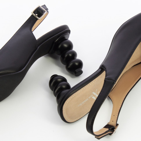 Black peep-toe pumps with ball heel