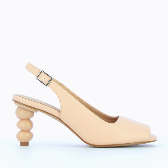 Pumps light pink Vanessa Wu with heel ball geometric women peep-toe in faux leather