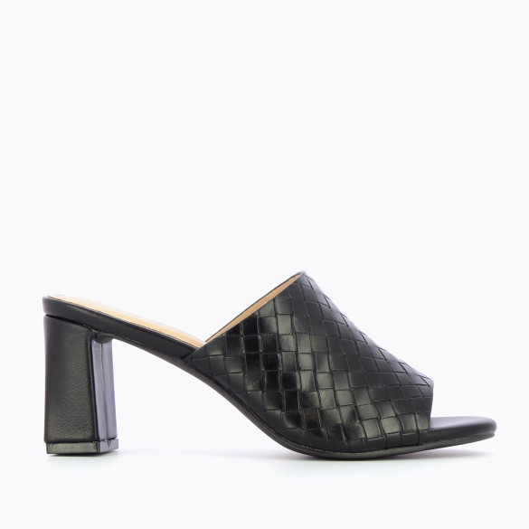 mules 90s with block heel black woman Vanessa Wu woven with open toe