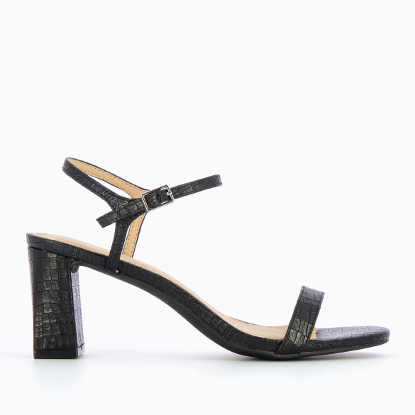 sandals with block heel black with fine strap in faux crocodile leather woman Vanessa Wu