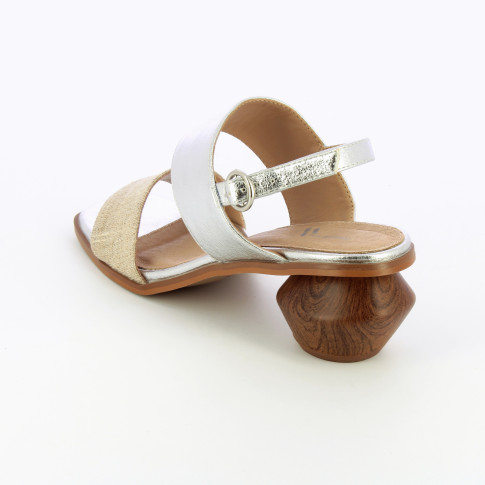 Silver sandals with tweed strap