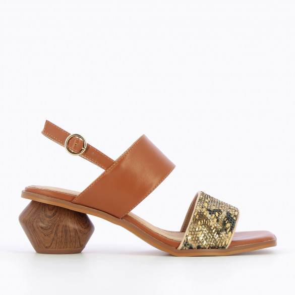 camel sandals with ball heel wood effect and woven strap gold sequins woman Vanessa Wu square toe