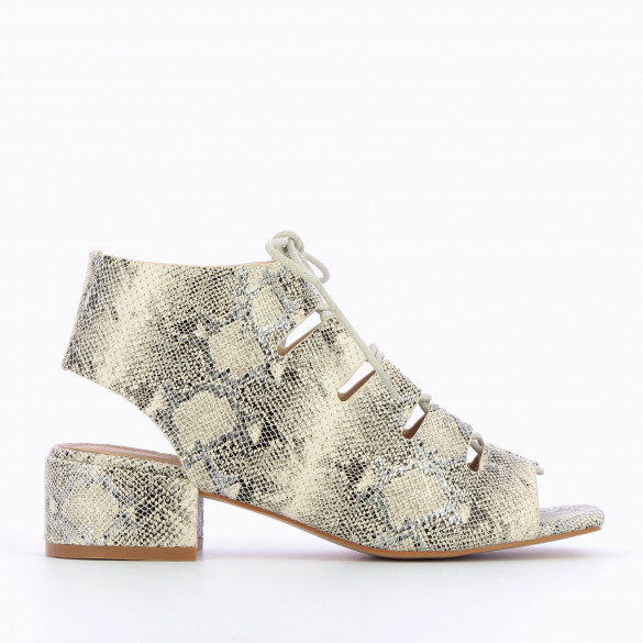 Sandals with laces beige snakeskin print crackled effect woman Vanessa Wu block heel