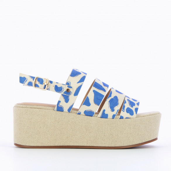platform sandals oversized tweed effect beige with abstract blue print multiple straps woman Vanessa Wu