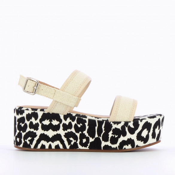 sandals with large platform black and white print with straps Jacquard beige woman Vanessa Wu