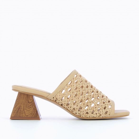 beige mules woven caning-style with heel pyramid sculpture wood effect woman Vanessa Wu square toe