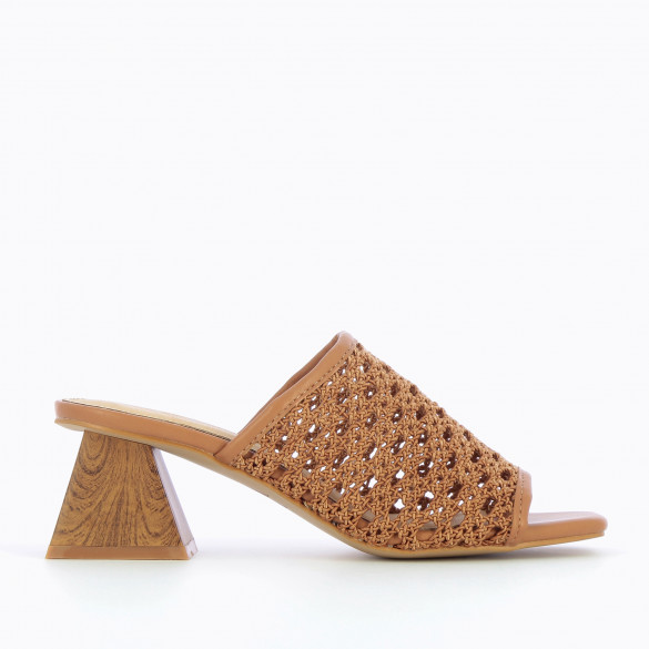 camel mules woven caning with heel faux wood pyramid and square to woman Vanessa Wu