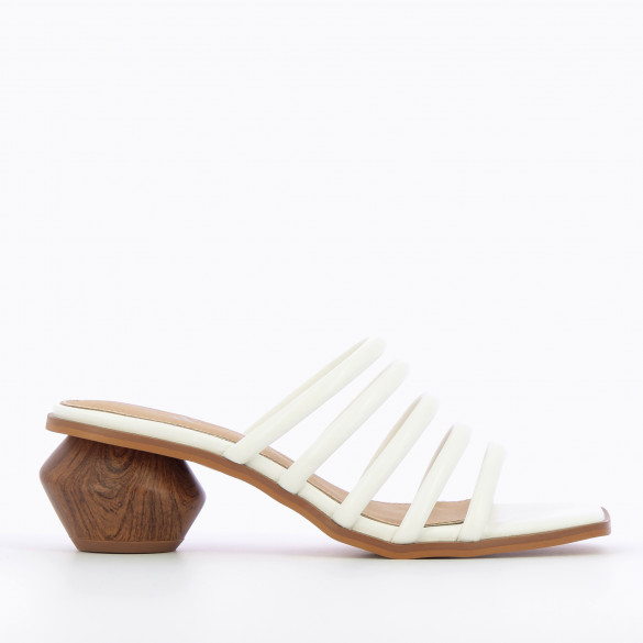 White mules with multiple straps and sculpted faux wood heel square toe woman Vanessa Wu faux leather
