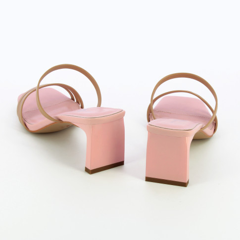 Pink mules with beige straps