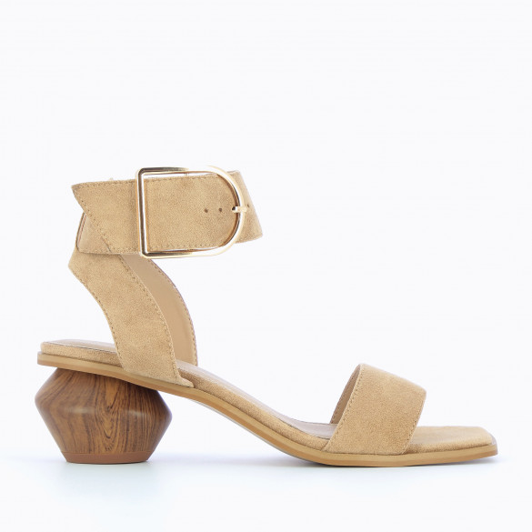 Beige sandals with sculpted heel wood effect in suedette with oversized buckle gold woman Vanessa Wu